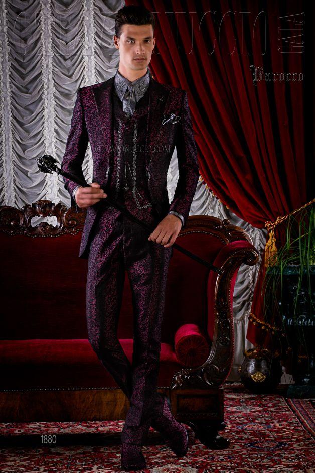 ONGala 1880 - Gothic Hochzeitsanzug burgund aus Brokat Stoff mit ...